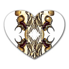 Butterfly Art Ivory&brown Mouse Pad (Heart)