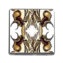 Butterfly Art Ivory&brown Memory Card Reader with Storage (Square)