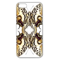 Butterfly Art Ivory&brown Apple Seamless iPhone 5 Case (Clear)