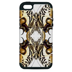 Butterfly Art Ivory&brown Apple Iphone 5 Hardshell Case (pc+silicone)