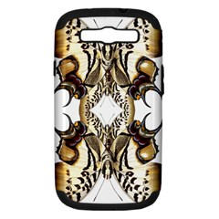 Butterfly Art Ivory&brown Samsung Galaxy S III Hardshell Case (PC+Silicone)