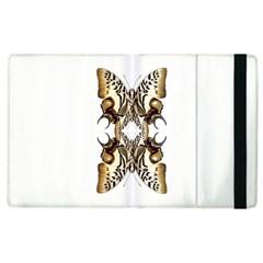 Butterfly Art Ivory&brown Apple iPad 3/4 Flip Case