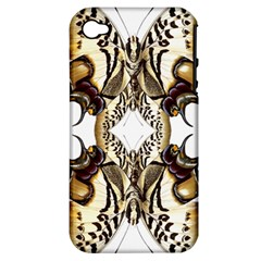 Butterfly Art Ivory&brown Apple Iphone 4/4s Hardshell Case (pc+silicone)