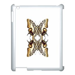 Butterfly Art Ivory&brown Apple iPad 3/4 Case (White)