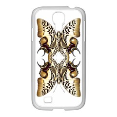 Butterfly Art Ivory&brown Samsung GALAXY S4 I9500/ I9505 Case (White)