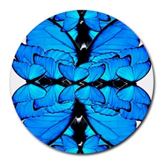 Butterfly Art Blue&cyan 8  Mouse Pad (Round)