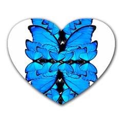 Butterfly Art Blue&cyan Mouse Pad (Heart)