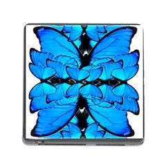 Butterfly Art Blue&cyan Memory Card Reader with Storage (Square)