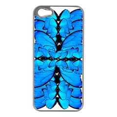 Butterfly Art Blue&cyan Apple iPhone 5 Case (Silver)