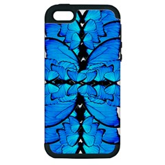 Butterfly Art Blue&cyan Apple Iphone 5 Hardshell Case (pc+silicone)