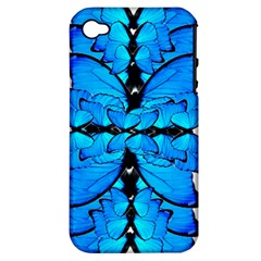 Butterfly Art Blue&cyan Apple iPhone 4/4S Hardshell Case (PC+Silicone)