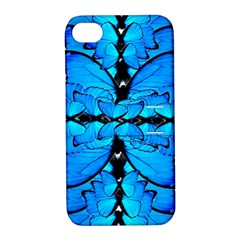 Butterfly Art Blue&cyan Apple iPhone 4/4S Hardshell Case with Stand