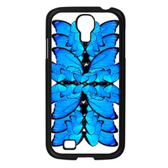 Butterfly Art Blue&cyan Samsung Galaxy S4 I9500/ I9505 Case (black)