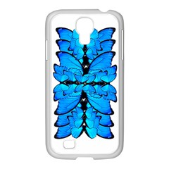 Butterfly Art Blue&cyan Samsung Galaxy S4 I9500/ I9505 Case (white)