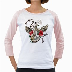 Guitar God Bless Rock n Roll Women s Long Cap Sleeve T-Shirt (White)