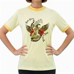 Guitar God Bless Rock n Roll Women s Ringer T-shirt (Colored)