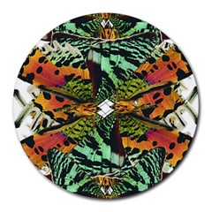 Butterfly Art Green & Orange 8  Mouse Pad (round)