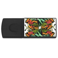 Butterfly Art Green & Orange 4gb Usb Flash Drive (rectangle)