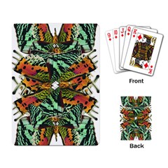 Butterfly Art Green & Orange Playing Cards Single Design