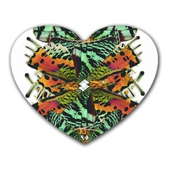 Butterfly Art Green & Orange Mouse Pad (heart)