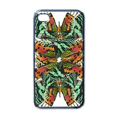 Butterfly Art Green & Orange Apple Iphone 4 Case (black)