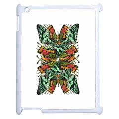 Butterfly Art Green & Orange Apple iPad 2 Case (White)