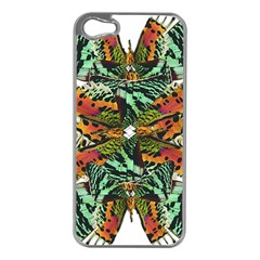 Butterfly Art Green & Orange Apple iPhone 5 Case (Silver)
