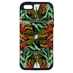 Butterfly Art Green & Orange Apple Iphone 5 Hardshell Case (pc+silicone)