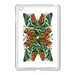 Butterfly Art Green & Orange Apple iPad Mini Case (White)