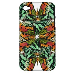 Butterfly Art Green & Orange Apple iPhone 4/4S Hardshell Case (PC+Silicone)