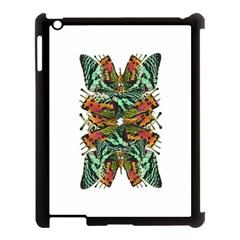 Butterfly Art Green & Orange Apple iPad 3/4 Case (Black)