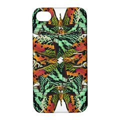 Butterfly Art Green & Orange Apple Iphone 4/4s Hardshell Case With Stand