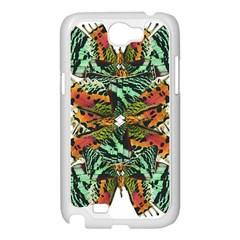 Butterfly Art Green & Orange Samsung Galaxy Note 2 Case (White)
