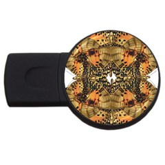 Butterfly Art Tan & Orange 2gb Usb Flash Drive (round)