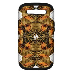 Butterfly Art Tan & Orange Samsung Galaxy S III Hardshell Case (PC+Silicone)