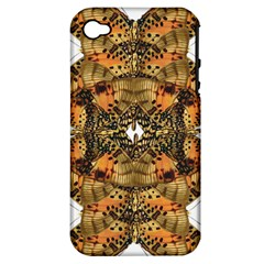 Butterfly Art Tan & Orange Apple iPhone 4/4S Hardshell Case (PC+Silicone)