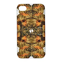 Butterfly Art Tan & Orange Apple Iphone 4/4s Hardshell Case With Stand