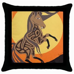 Embracing The Moon Black Throw Pillow Case