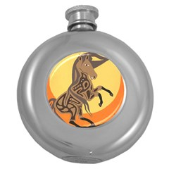 Embracing The Moon Hip Flask (Round)