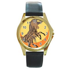 Embracing The Moon Copy Round Leather Watch (Gold Rim)