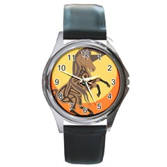 Embracing The Moon Copy Round Leather Watch (Silver Rim)