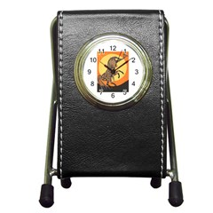 Embracing The Moon Copy Stationery Holder Clock