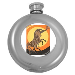 Embracing The Moon Copy Hip Flask (Round)
