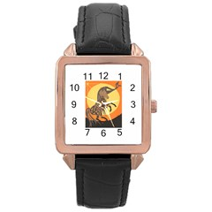 Embracing The Moon Copy Rose Gold Leather Watch