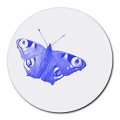 Decorative Blue Butterfly 8  Mouse Pad (Round)