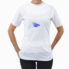 Decorative Blue Butterfly Women s T-shirt (White)
