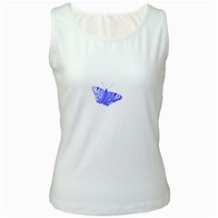 Decorative Blue Butterfly Women s Tank Top (White)