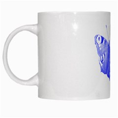 Decorative Blue Butterfly White Coffee Mug