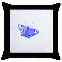 Decorative Blue Butterfly Black Throw Pillow Case