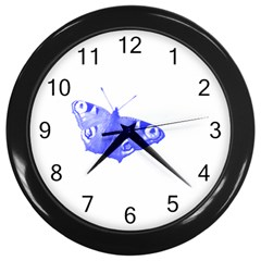 Decorative Blue Butterfly Wall Clock (Black)
